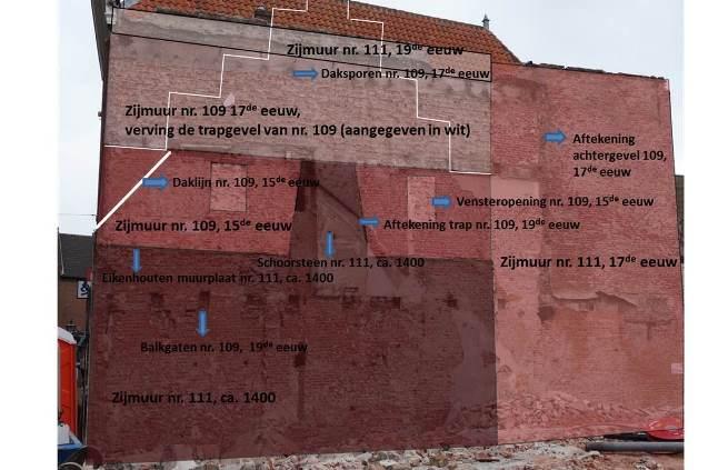 De muur tussen Haarlemmerstraat 109 en 111