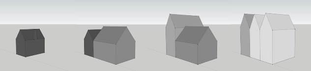 Reconstructietekeningen van de verschillende bouwfasen.