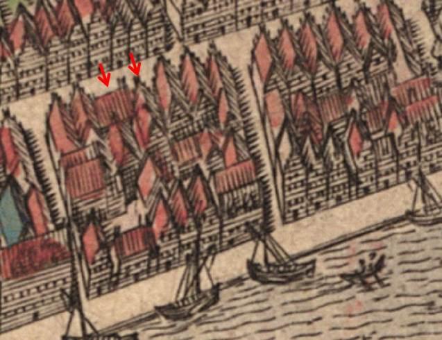 Detail van de kaart van Leiden.
