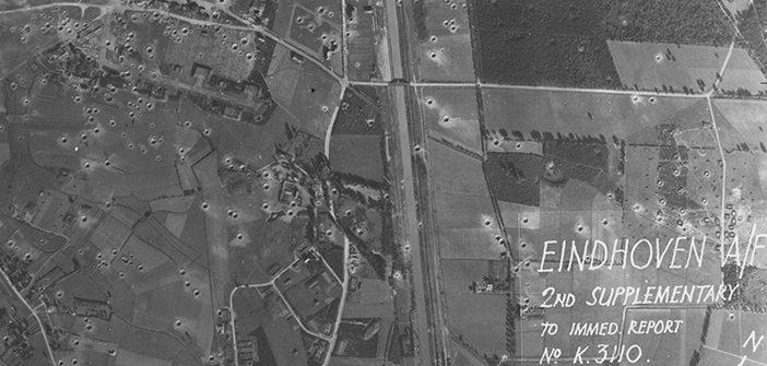 Luchtfoto na bombardementen gemeente Eindhoven