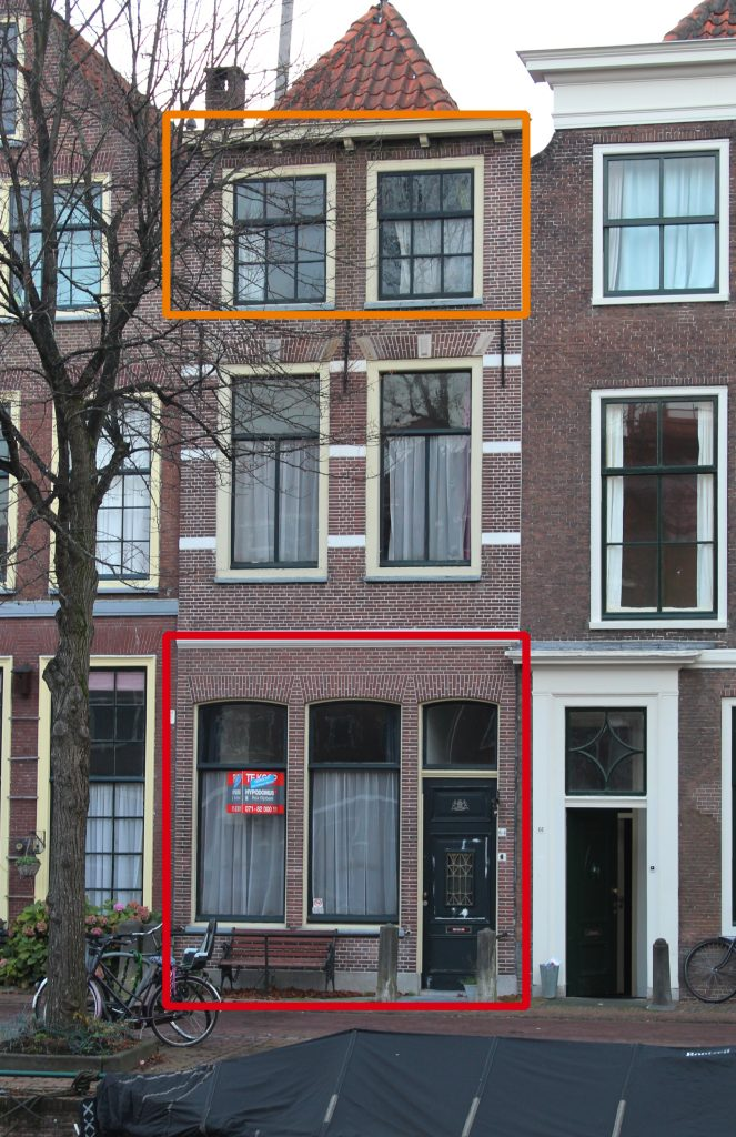 De gevel van de Herengracht 64 in Leiden