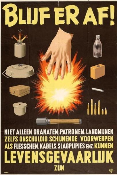 Poster met de boodschap van explosieven af te blijven