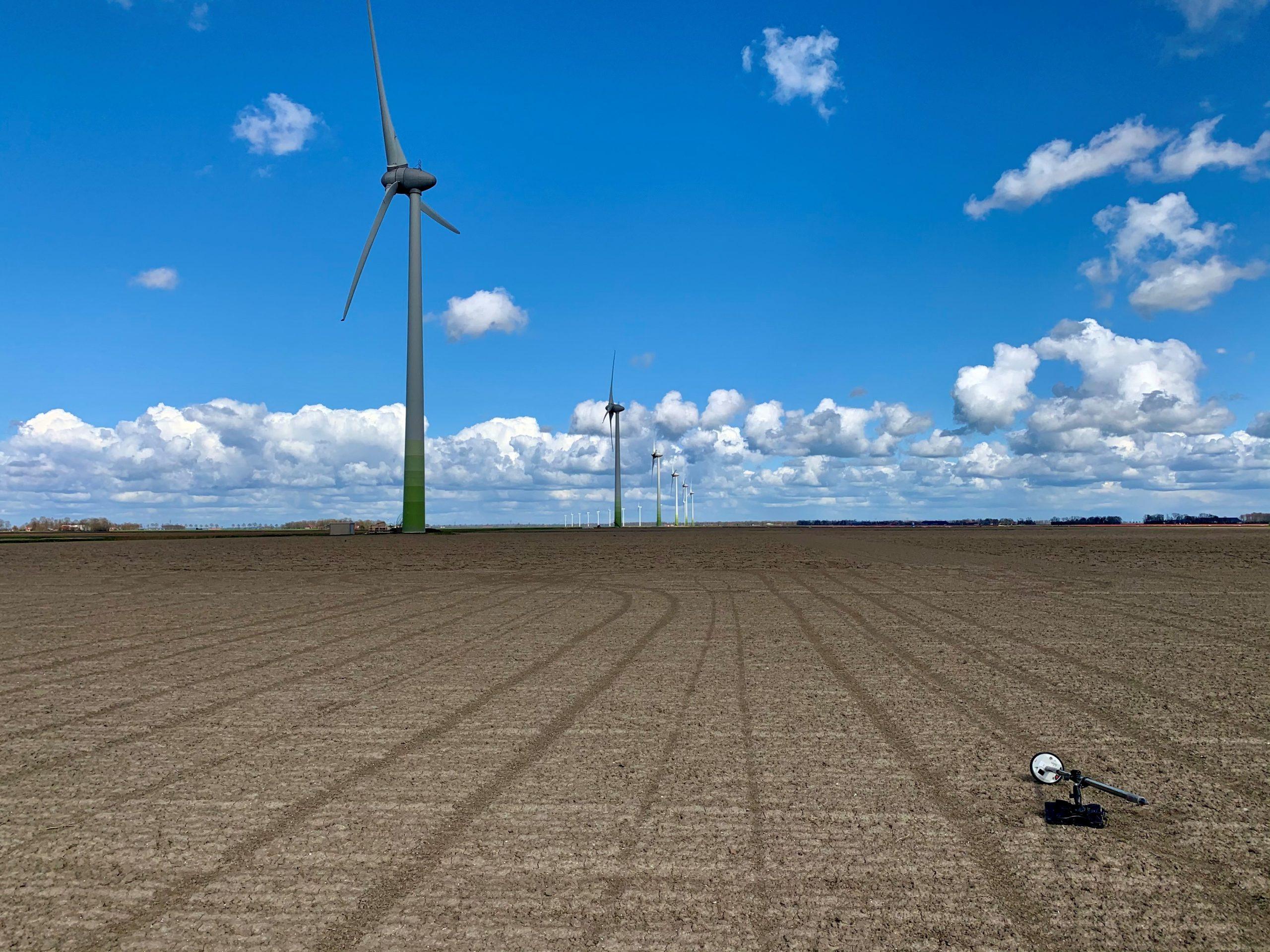 overzicht van de detectielocatie tussen de windmolens