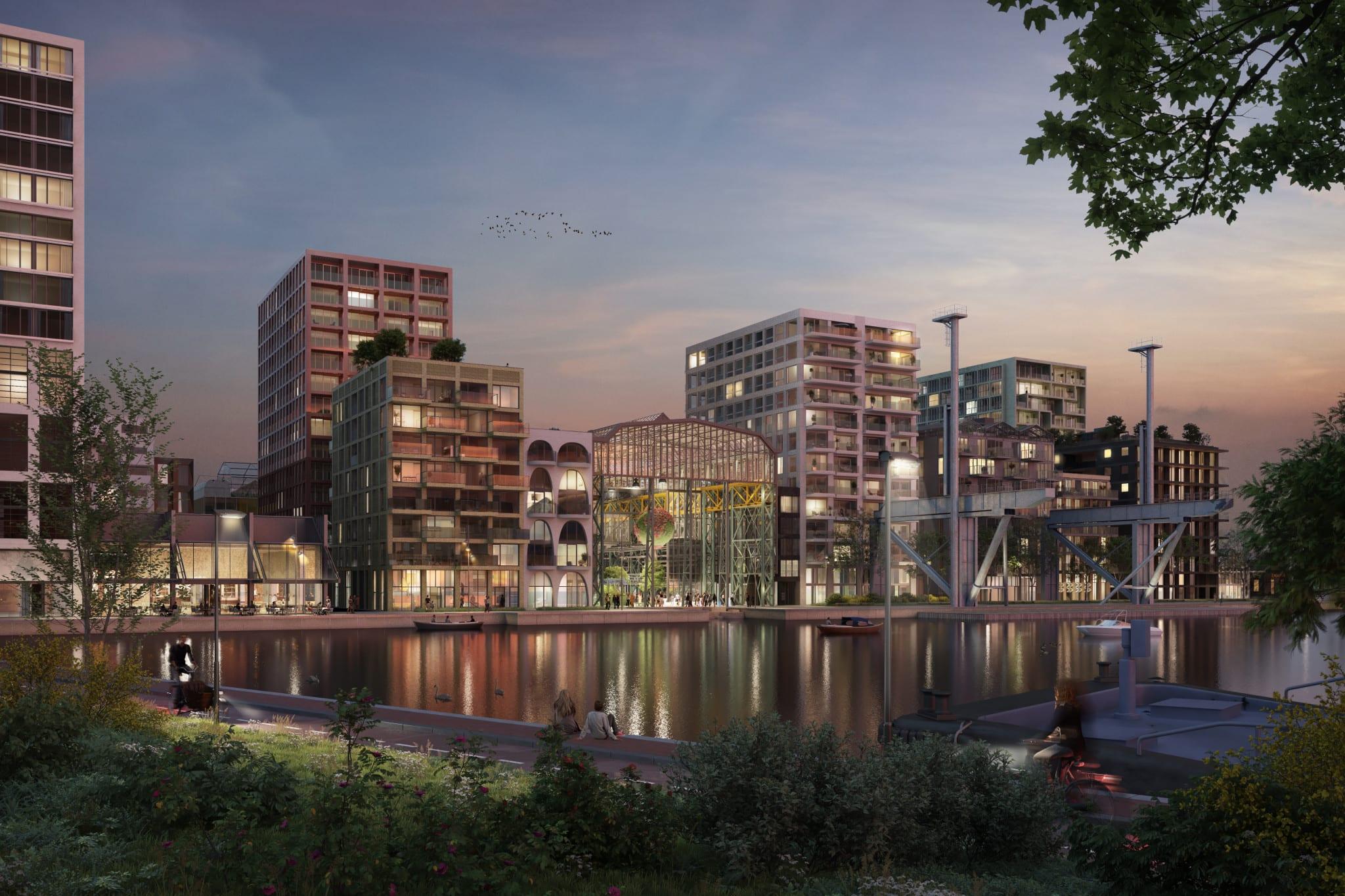 Impressie avond van toekomstig Oostenburg
