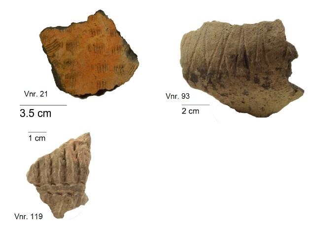 Resten versierde aardewerken vaatwerk uit de ijzertijd die zijn gevonden